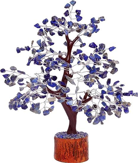 Decor Size: 10-12 Inch Spiritual Crocon Lapis Lazuli Gemstone Money Tree Reiki Crystal Healing Good Luck Chakra Balancing Feng Shui Bonsai EMF Protection Energy Generator Enhancement