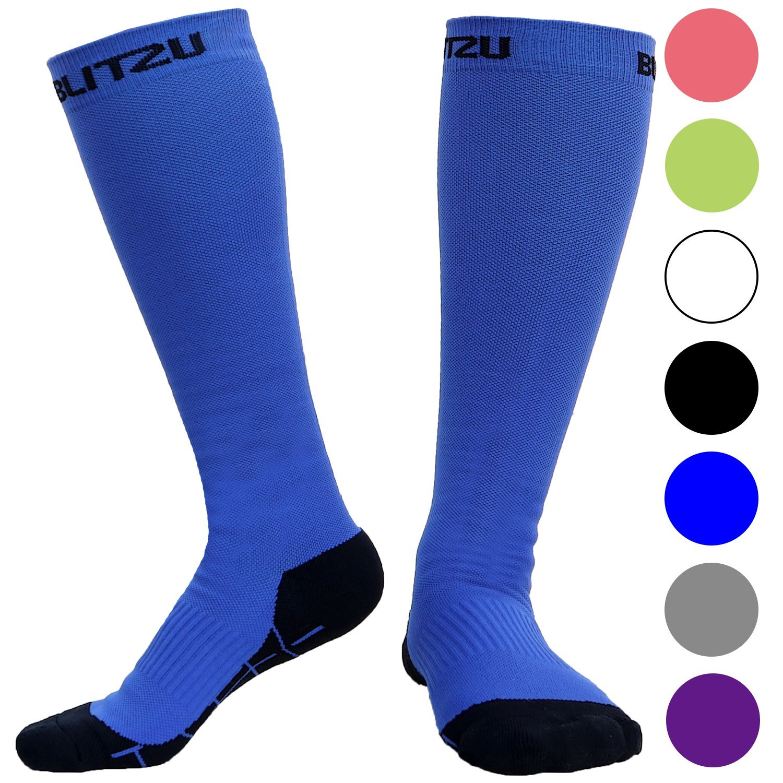 BLITZU Compression Socks 20-30mmHg for Men & Women Best Recovery Performance Stockings for Running, Medical, Athletic, Edema, Diabetic, Varicose Veins, Travel, Pregnancy, Relief Shin Splint L Blue