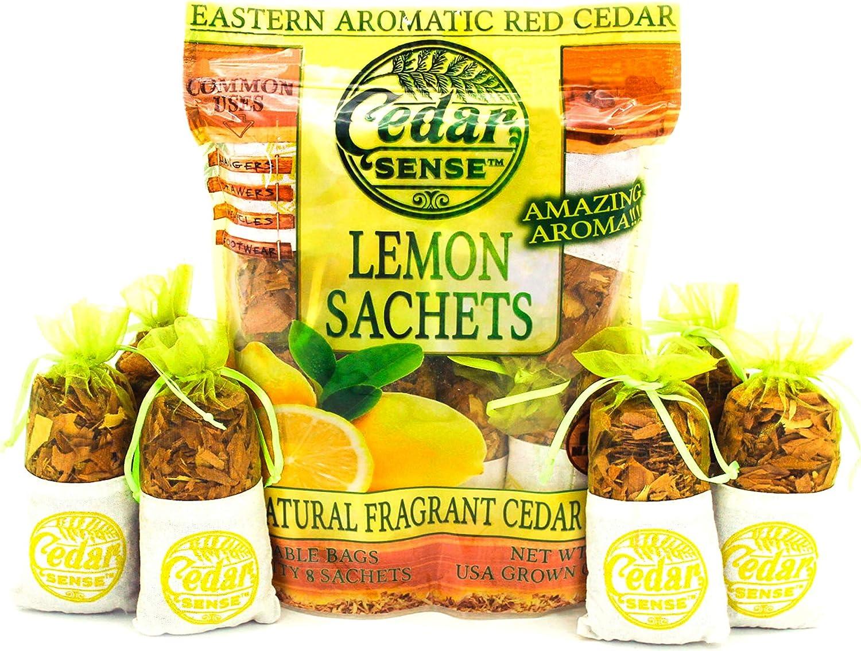 Cedar Sense Lemon Essential Cedar Sachets 8 Pack – Essential Oil Infused Cedar Chips – Car Air Freshener – Closet Freshener – Potpourri Bags – Air Fresheners – Sachets for Drawers and Closets