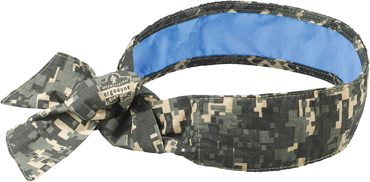 Ergodyne Chill Its 6700CT Cooling Bandana, Lined with Evaporative PVA Material for Fast Cooling Relief, Tie for Adjustable Fit, Camo - Novelty Bandanas -