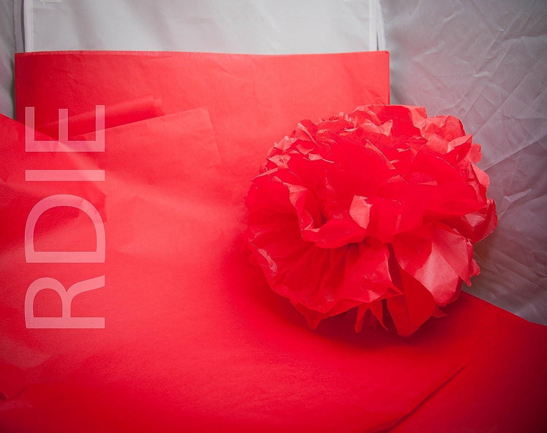 24 feuilles de papier de soie Rouge, format 37 cm x 50 cm, 18 grs Rdie