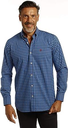 THE TIME OF BOCHA Camisa Hombre Cuadros Azul