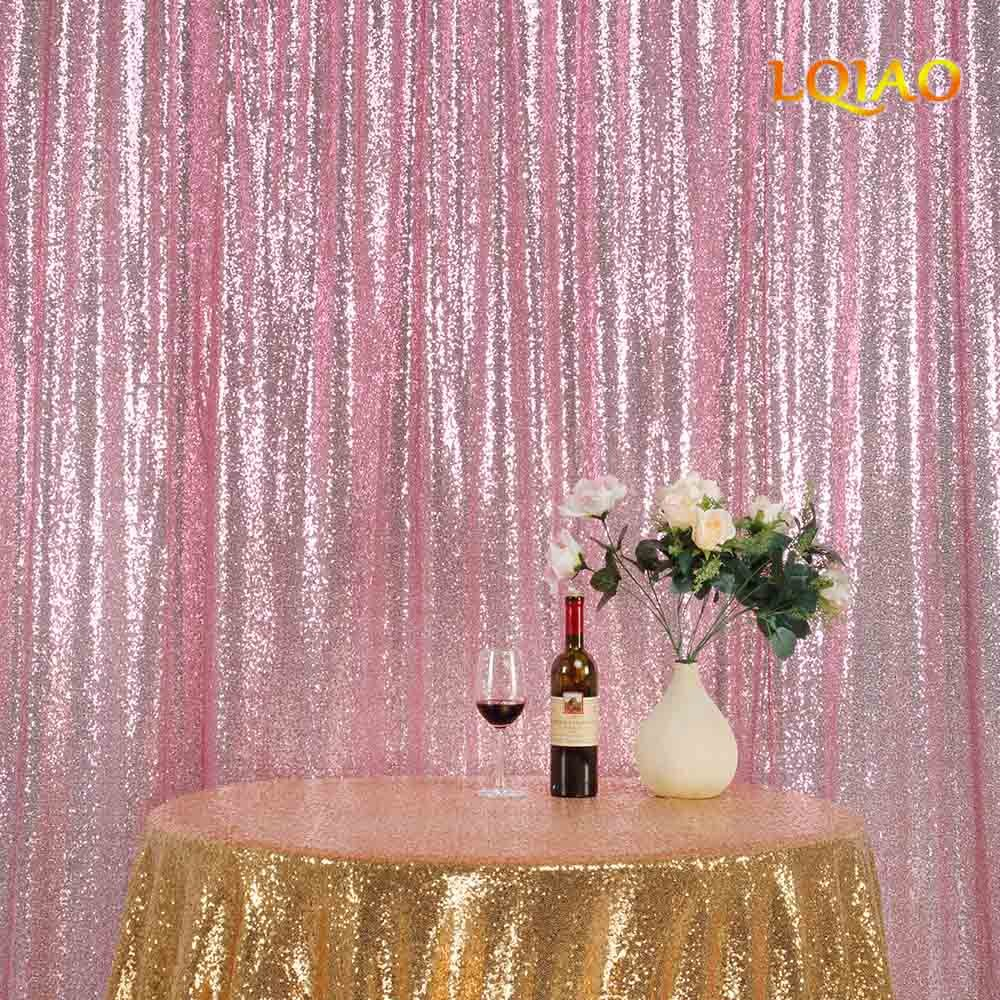 LQIAO Sequin Curtain 9X9FT-Pink Gold Sequin Backdrop Wedding Photo Booth Door Window Curtain for Halloween Party Wedding Decoration
