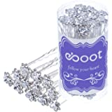 eBoot White Crystal Hair Pins Rose Flower Rhinestone Hair Clips with Storage Bag for Bridal Wedding Women Hair Accessories, 40 Pack