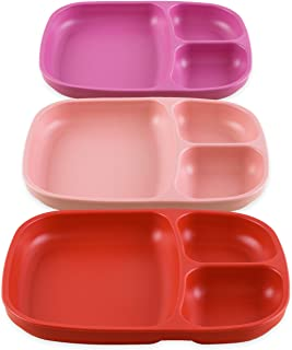 product image for Re-Play Set of 3 - Made in The USA Deep Divided Heavy Duty Dining Plates with 3 Compartments for All Ages - Blush, Red, Bright Pink (Valentine)
