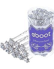 eBoot 40 Pack Crystal Hair Pins Rose Flower Rhinestone Hair Clips for Bridal  Wedding Women Hair 93b1c56dacd1