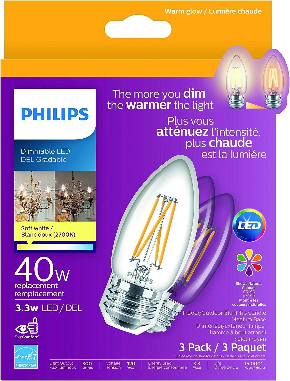 CRI90 3pk LED 40W Chandelier MedBase Soft White Warmglow 2700K