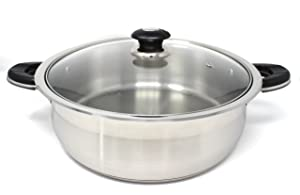 CONCORD Tri-Ply Stainless Steel Low Stock Pot Chicken Fryer (12 Quart)