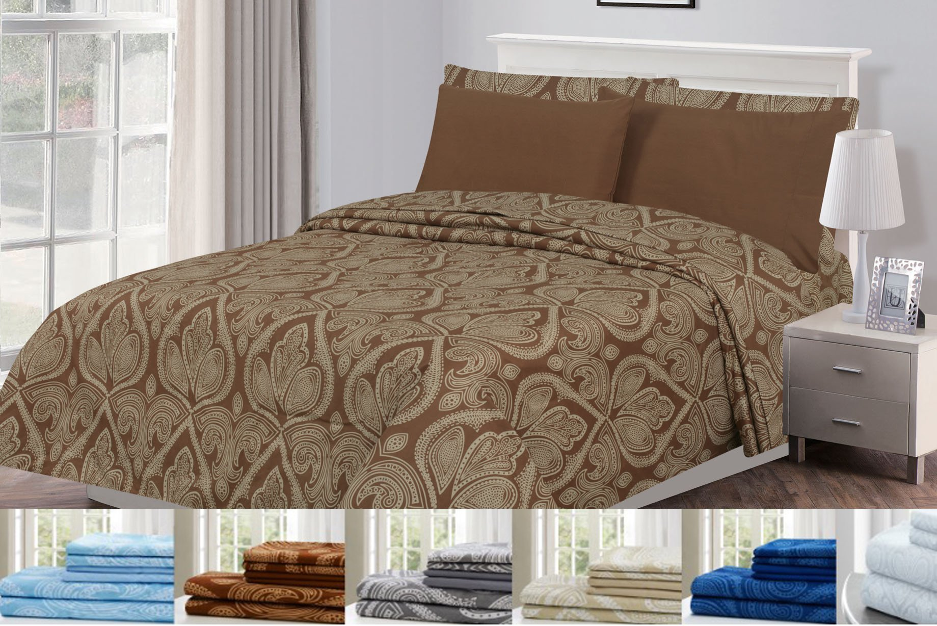 bc2398c23d 6 Piece: Paisley Printed Bed Sheet Set 1800 Count Egyptian Quality HOTEL  LUXURY Flat Sheet,Fitted Sheet with 4 Pillow Cases,Deep Pockets, Soft  Extremely ...