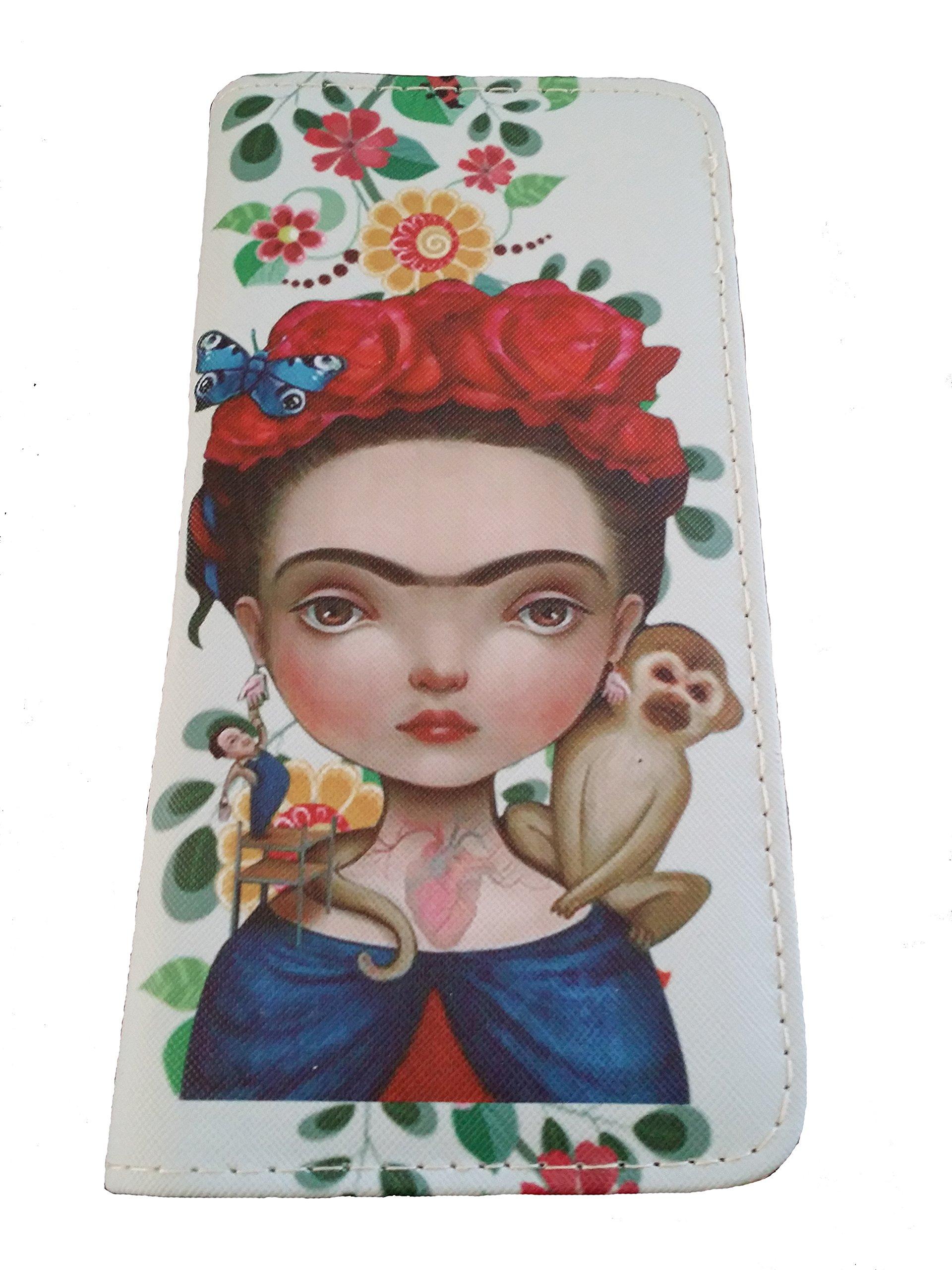 Frida Women's Wallet Flower Crown with White Background Cartoon.