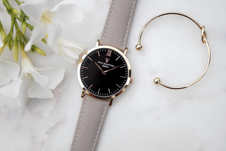 Paul Valentine Reloj de pulsera | Holly con piel de Real Gris de pulsera: Amazon.es: Relojes