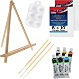 U.S. Art Supply 13-Piece Acrylic Artist Painting Set with Mini Table Easel, Canvas Panel, Brushes & Palette