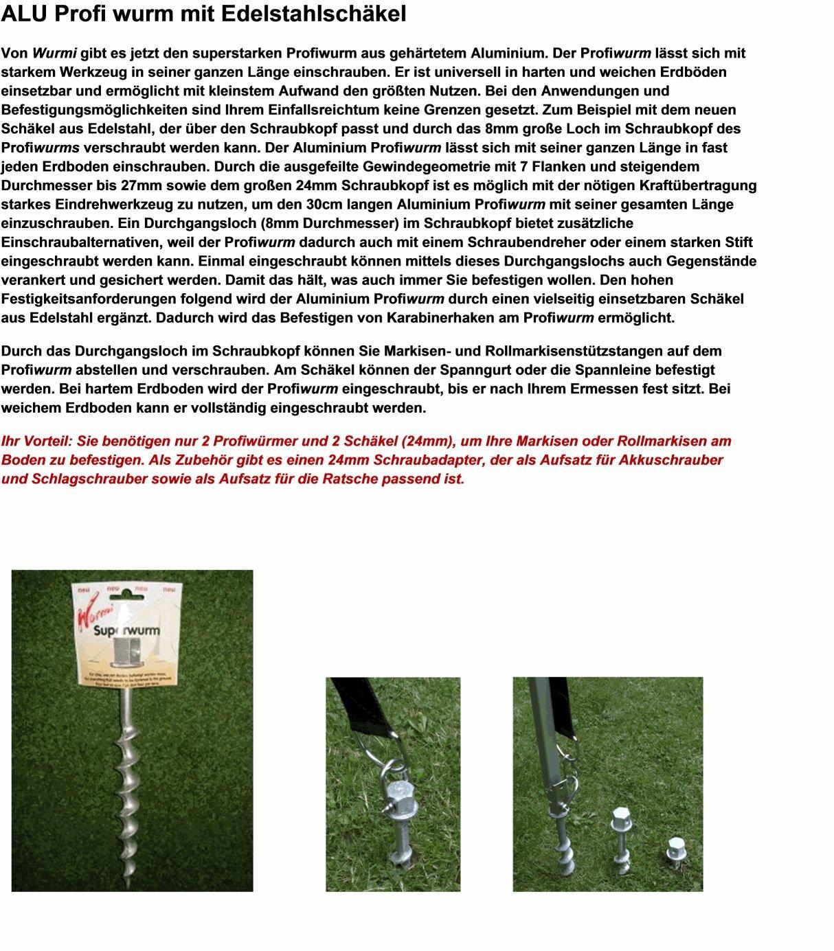 8 SPEZIAL GEHÄRTETE ZELTHERINGE + EDELSTAHLSCHÄKEL - 8 Stck. EDELSTAHLSCHÄKEL 24 mm Überkopf + 8 Stück gehärteter ALUMINIUM SCHRAUBHERING 30 cm - ZELTHERING - SPEZIAL ALUMINIUM - Holly ® Produkte STABIELO ® - DER ALU WURMI ® - Wurmi-produkte ® für CAMPING-CARAVAN-OUTDOOR-FREIZEiT - MADE in GERMANY - LANGZEIT-TEST bestanden - holly-sunshade ®