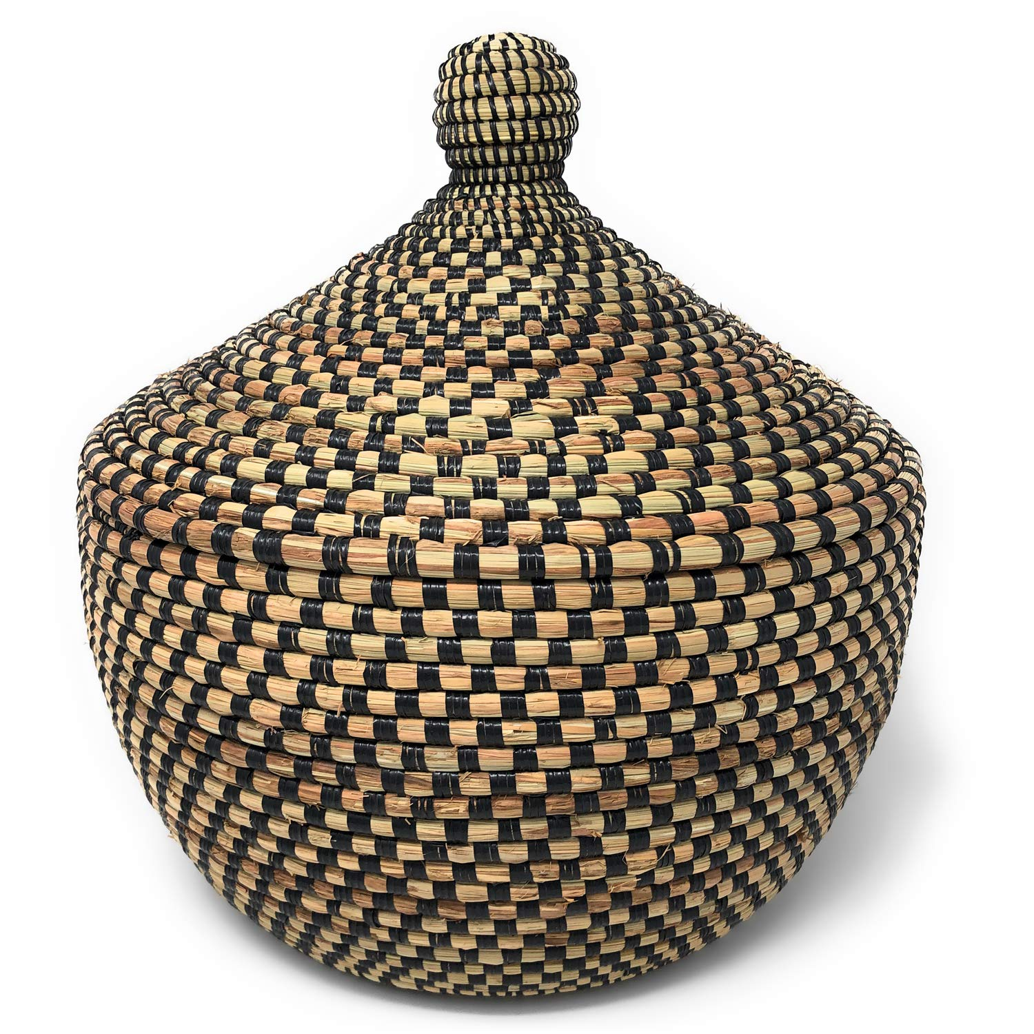 The Barrington Garage African Fair Trade Handwoven Warming Basket, Checkered Black by The Barrington Garage