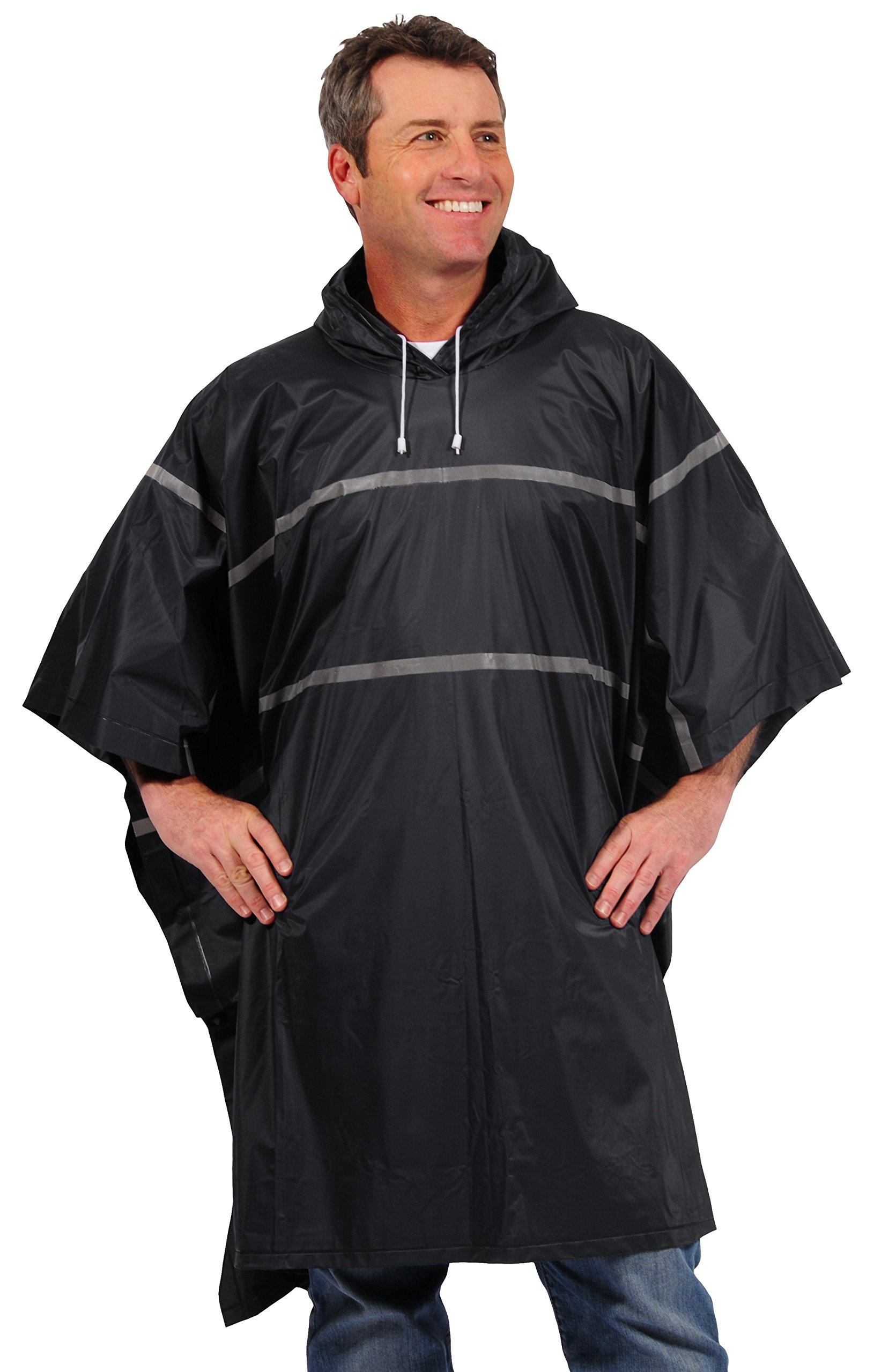 Galeton 12335-BK 12335 Repel Rainwear 0.20 mm PVC Rain Poncho with Reflective Stripes, Black, One Size by Galeton