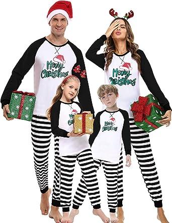 iClosam Pijamas Rayas Navidad Familia Conjunto,Pijama Algodón Ropa para Dormir Navideños Suave y Comodo para Hombre Mujer niños