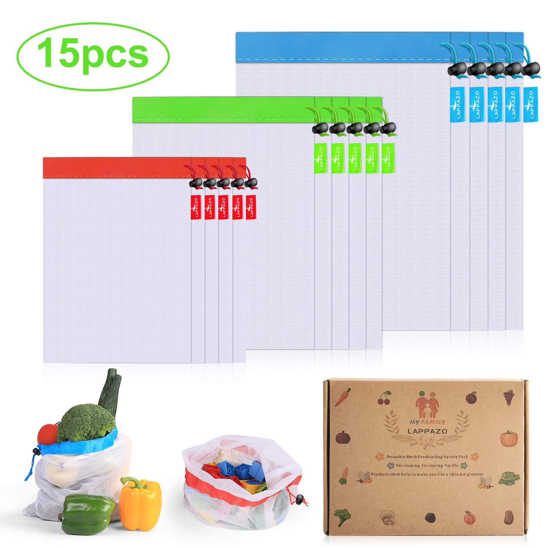 LAPPAZO Bolsas Reutilizables de Compra para Frutas Verduras Juguete y Granos, Bolsas Ecologicas (5XL 5xM 5XL)