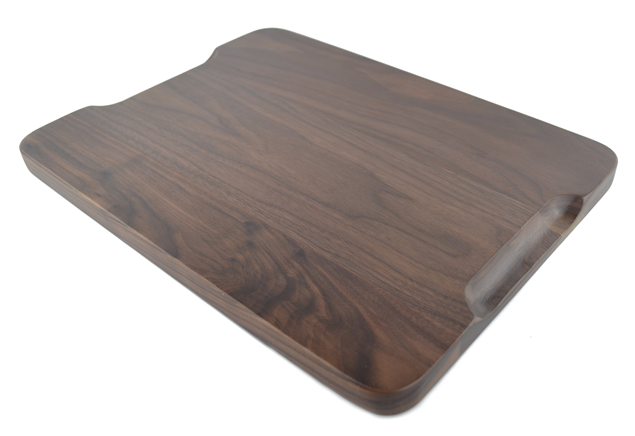 Samyo Black Walnut Solid Wood Rectangular Tableware Serving Tray Handcrafted Decorative Trays Food Tray Serving Platters with gripper for Coffee Wine Cocktail Fruit Meals (Large Size) by SAMYO (Image #4)