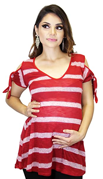 f6dbc563b4b8df Open Shoulder Maternity Side Bow Stripped Tie Dye Rocker at Amazon ...