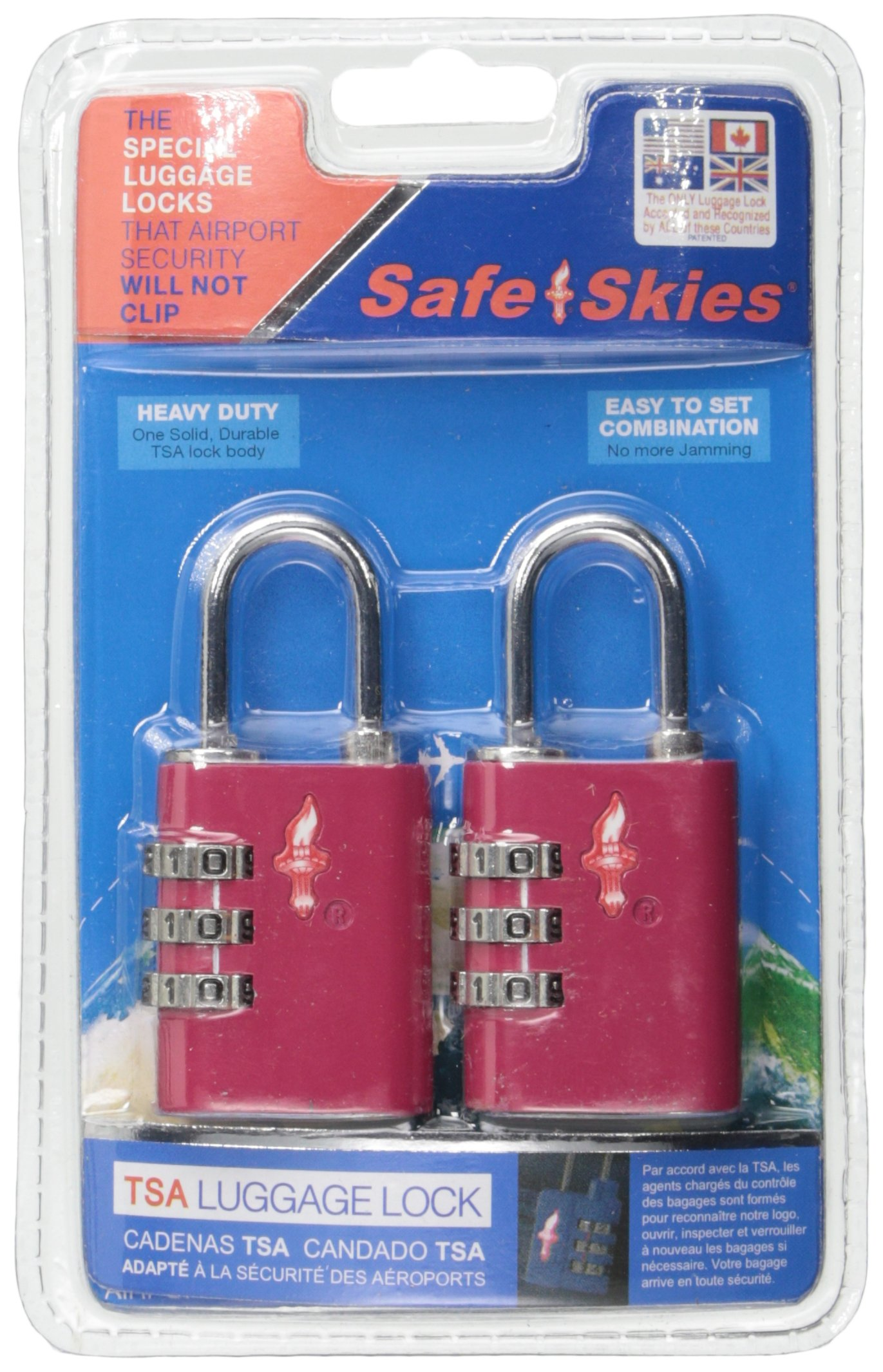 Safe Skies TSA Aero 3 Dial TSA-Approved Combination Lock Double Set, Pink Lemonade by Safe Skies TSA