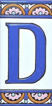 """Imagen deLetreros con numeros y letras en azulejo de ceramica policromada, pintados a mano en técnica cuerda seca para placas con nombres, direcciones y señaléctica. Texto personalizable. Diseño ARCO GRANDE 14,9 cm x 7,4 cm. (LETRA """"D"""")"""