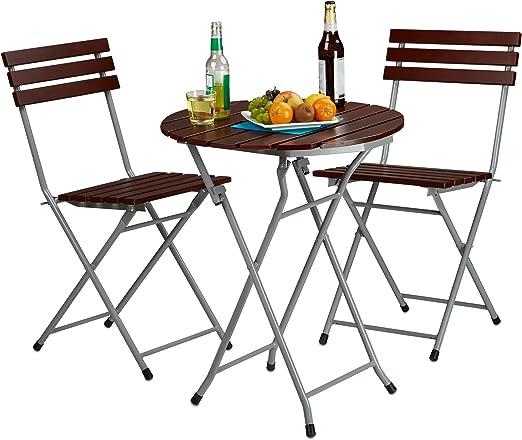 Relaxdays Juego de Muebles de Madera de jardín o balcón, 3 Unidades, Mesa Redonda y 2 sillas Plegables, Color Rojo y marrón: Amazon.es: Jardín