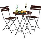 Relaxdays Gartenmöbel Set Holz 3-teilig, Klappbar, Klapptisch rund, inkl 2 Klappstühle, Sitzgruppe, Balkongarnitur, rot-braun