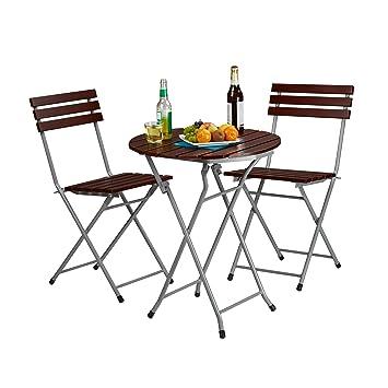 Relaxdays Ensemble table ronde et 2 chaises de jardin pliables en ...