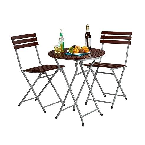Amazon.de: Relaxdays Gartenmöbel Set Holz 3-teilig, Klappbar ...