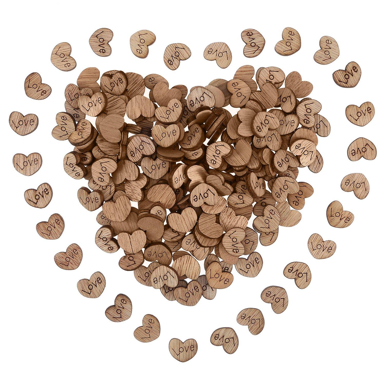 300 Piezas de Mini Corazón de Madera Rústico Rebanadas en Forma de Corazón de Artesanía con Patrón de Love para Decoración de Fiesta de Boda Pangda