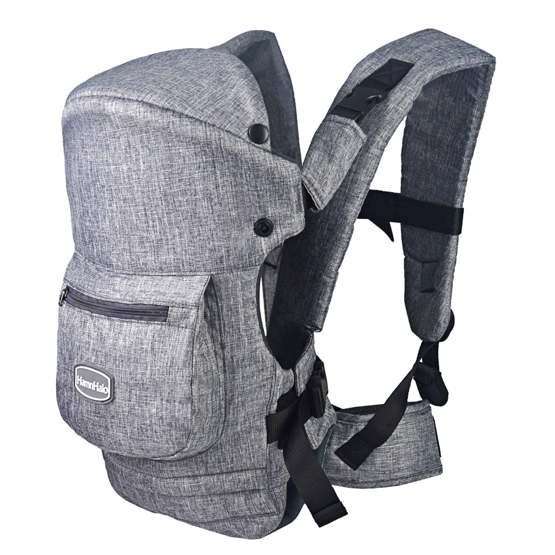 HarnnHalo - portador de bebé, Baby carrier, manos libres, multifuncional, plegable, De control con una sola mano,Pequeños bolsillos con cremallera 007 azul