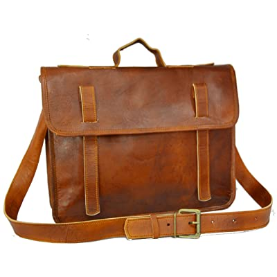 15 Inch Retro Vintage Leather Laptop Bag Office Briefcase College Men's Satchel Laptop Messenger Shoulder