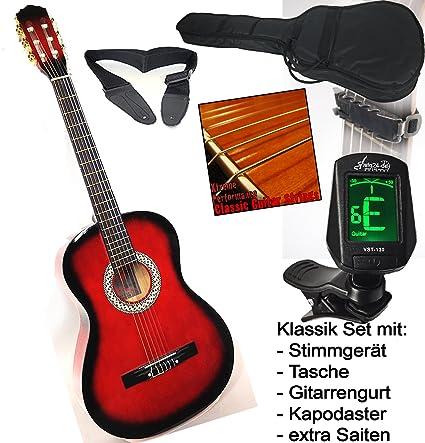 sfq24 - Guitarra clásica escolar con afinador con LED, funda y ...
