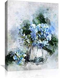"""Canvas Wall-Art for Living Room and Bedroom Office Bathroom Decor, Paintings Framed Modern Wall Art Blue Flower Wall Decor Picture Artwork for Home Art Prints with Wood Frame Size 12"""" x 16"""""""