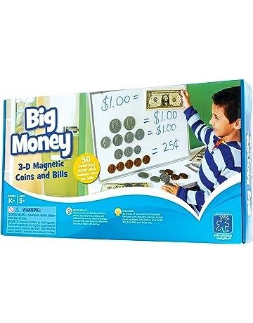 Educational Insights Big Money 3-D - Monedas magnéticas y Billetes