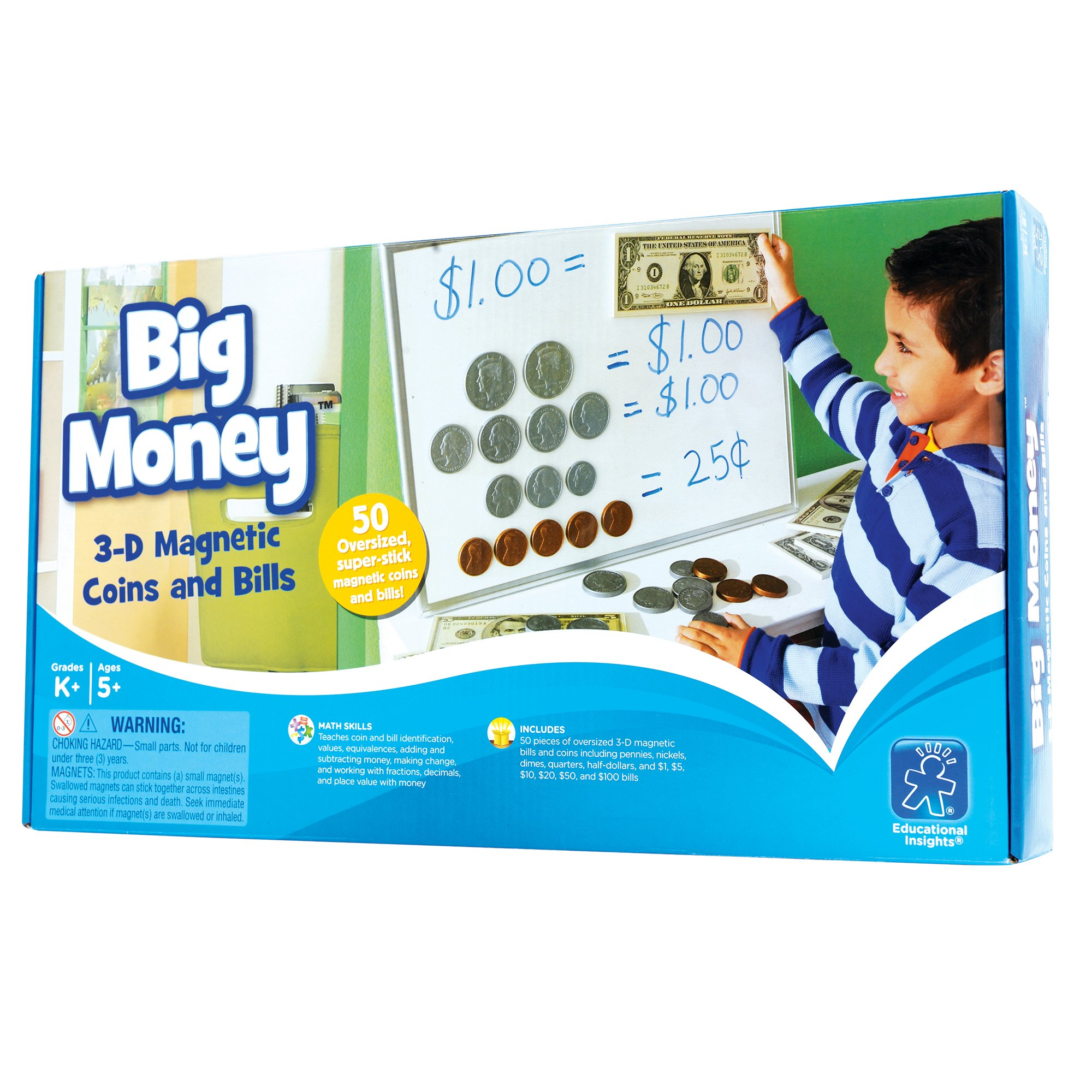 Educational Insights Big Money 3-D Magnetic Coins and Bills by Educational Insights