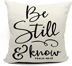 Be Still And Know Throw Pillow Case, Christian Decor, Christian Gift, Church Gifts, Christian Gifts for Women, 18 x 18 Inch Scripture Art Linen Cushion Cover for Sofa Couch Bed, Psalm 46:10