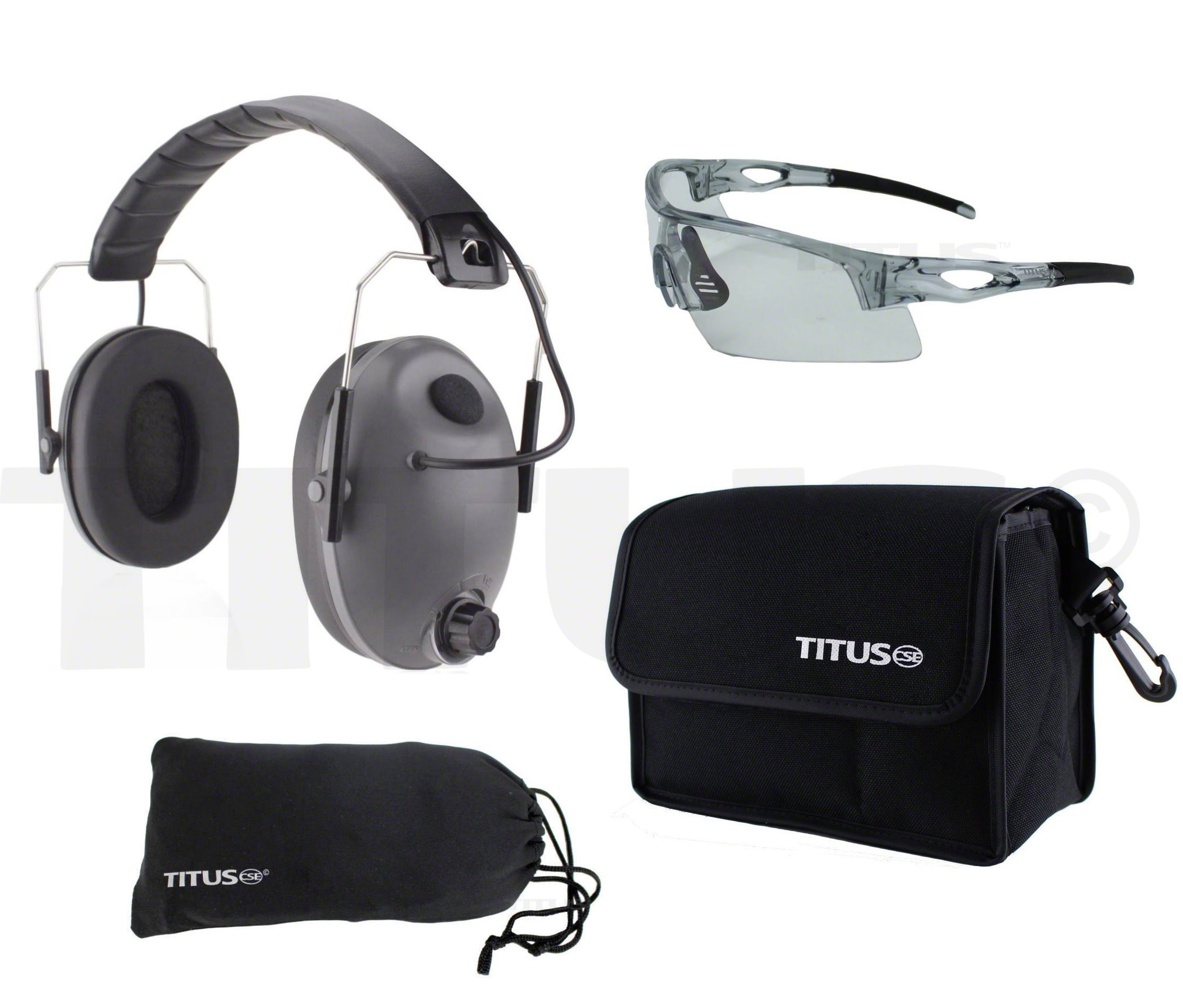 TITUS Top Combos: Safety Earmuffs & Glasses (Grey Electronic - Slim, Z87.1 Clear All-Sport) by Titus (Image #1)