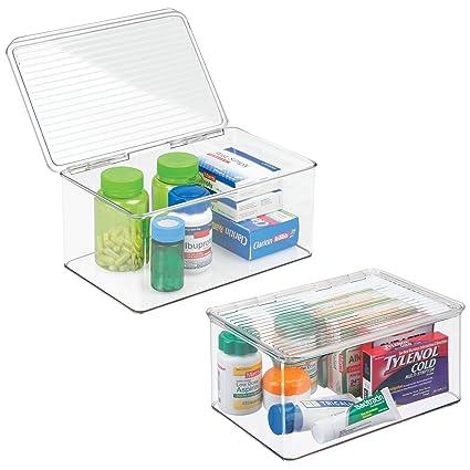 mDesign organizador de maquillaje con tapa abatible - Cajonera plástico multiusos ideal para guardar sus vitaminas