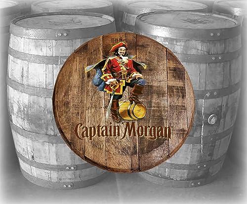 Rustic Home Bar Decor Captain Morgan Rum Pirate Barrel Lid Wood Wall Art