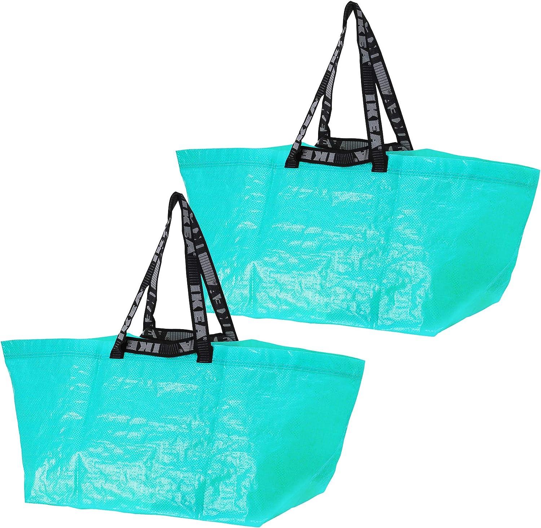 FRAKTA 804.197.96 Lot de 2 Grands Sacs de Courses r/éutilisables Ikea SLUKIS Turquoise