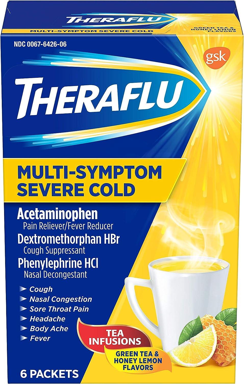 Theraflu Multi Symptom Severe Cold with Lipton Green Tea and Honey, 6 Count