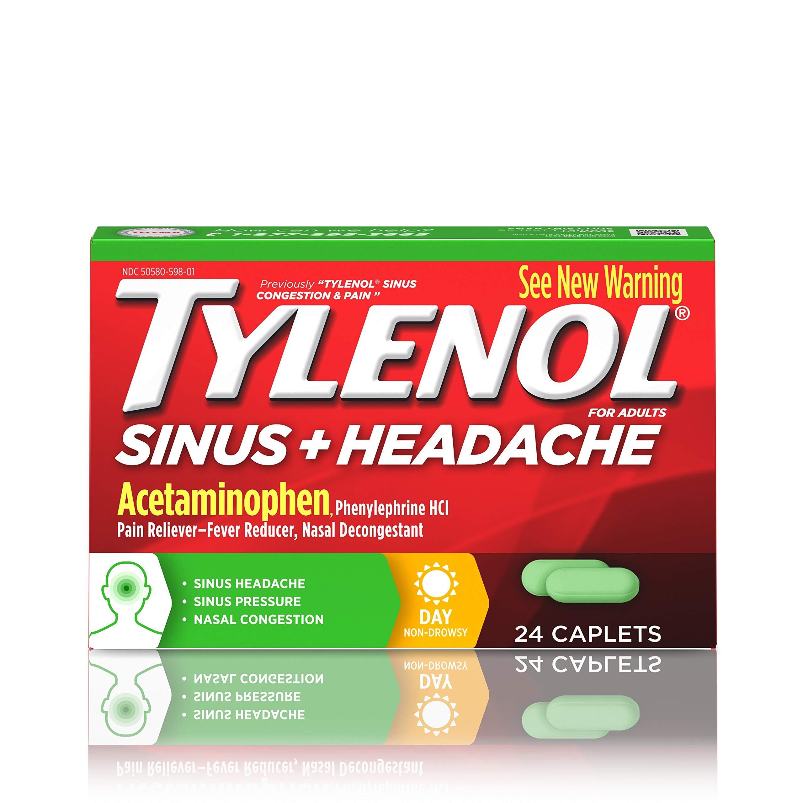 Amazon com: Tylenol Sinus + Headache Non-Drowsy Daytime