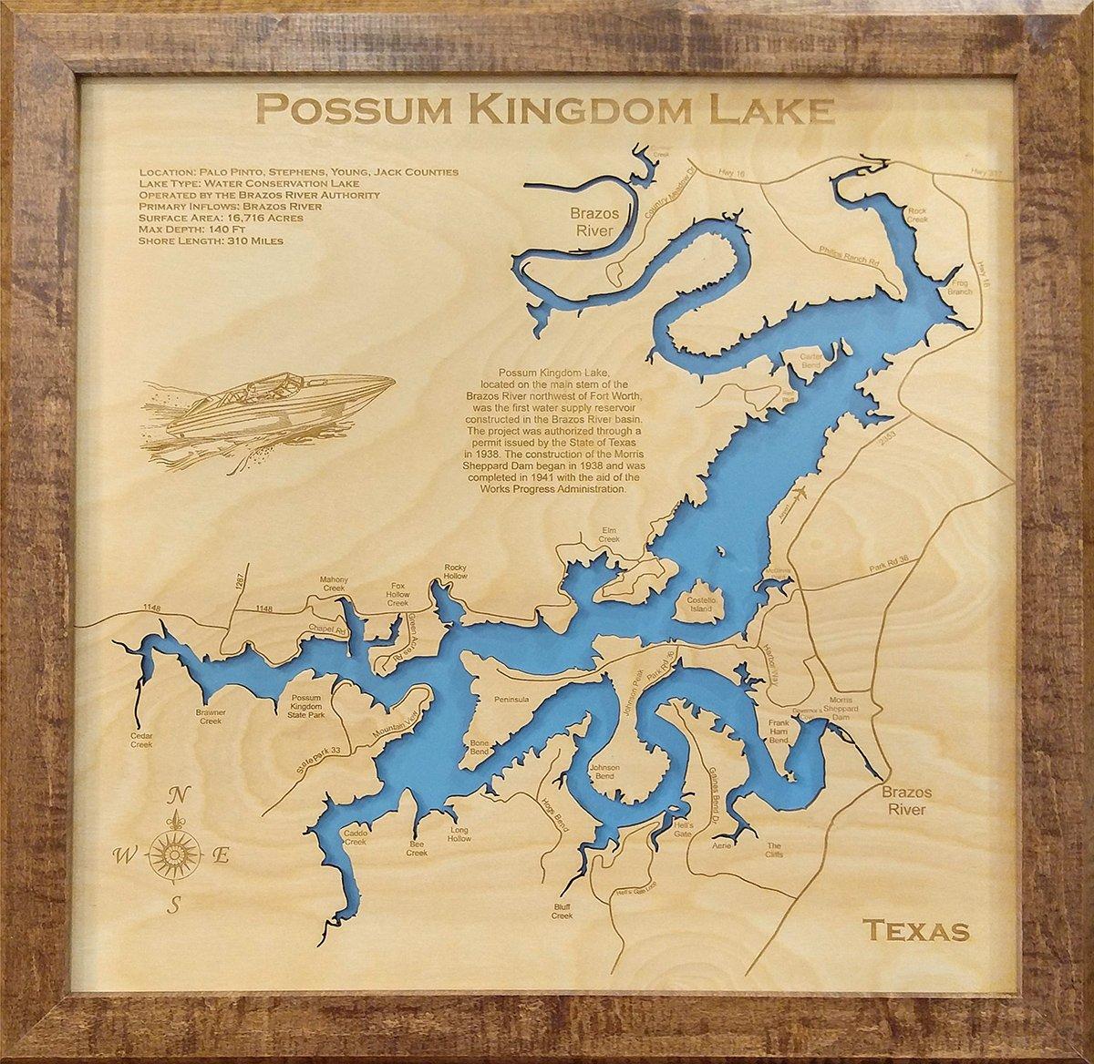Amazon.com: Possum Kingdom Lake, Texas: Framed Wood Map Wall Hanging ...