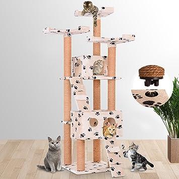 Leopet - Árbol rascador para gatos con cuevas, escaleras y plataformas - color beis con pisadas: Amazon.es: Hogar