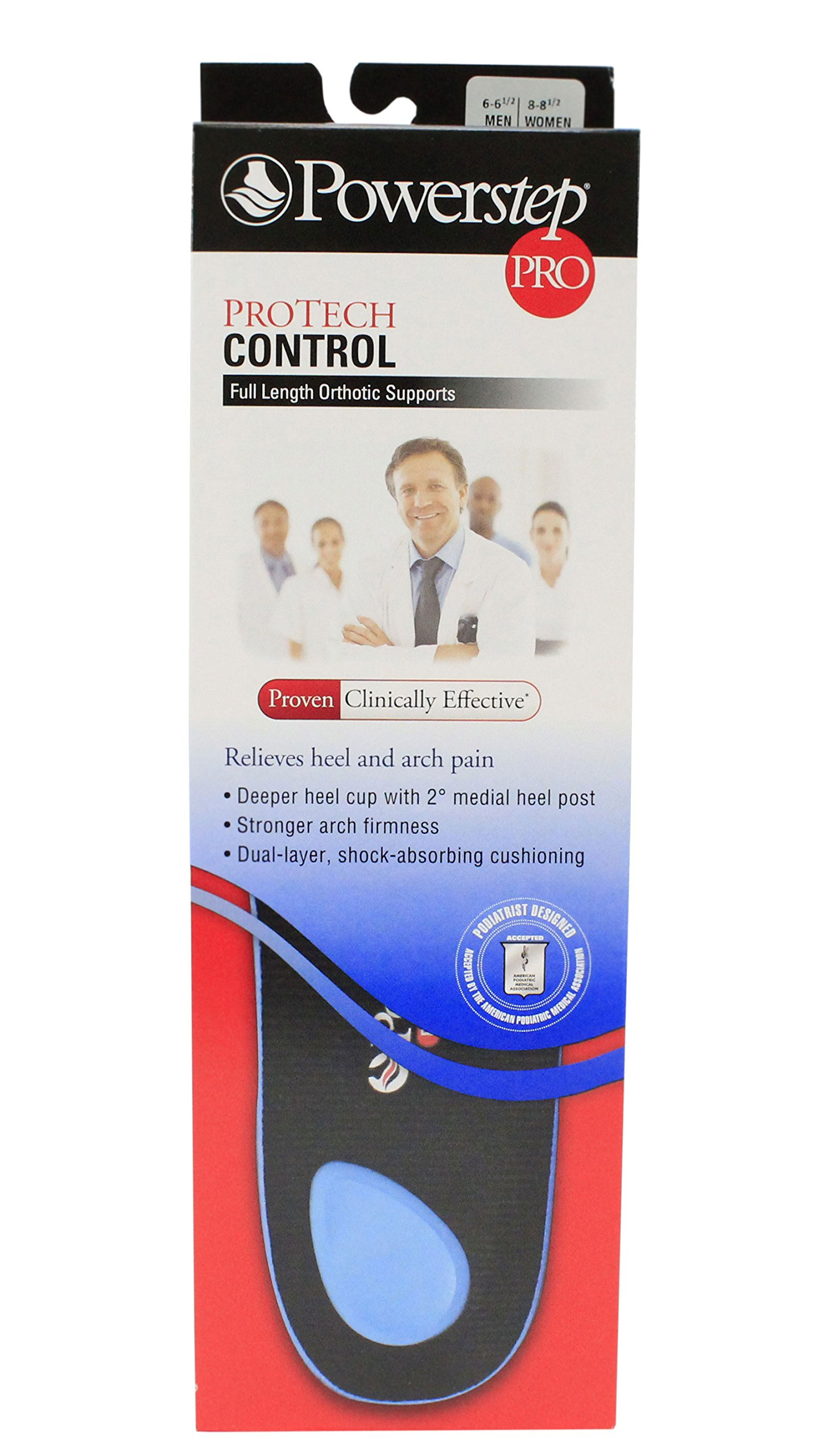 Powerstep Protech Control Pro Insoles 6-6.5 Men / 8-8.5 Women by Powerstep