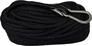 "Rainier Supply Co Double Braided Nylon Anchor Rope - 50' Anchor Line/Anchor Rope with 316SS Thimble and Marine Grade Snap Hook - Available in 3/8"" and 1/4"" Diameter - Boat Accessories, Black"