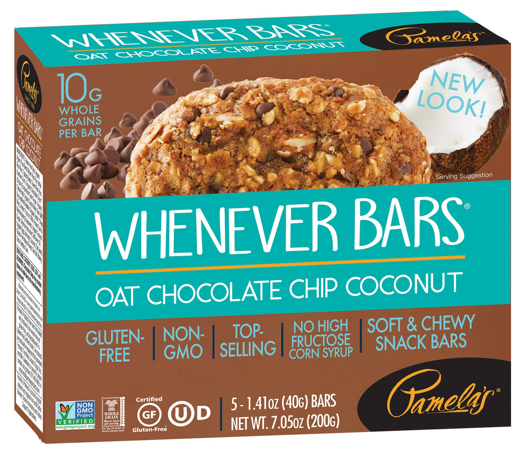 Pamela's Products Gluten Free Whenever Bars, Oat Chocolate Chip Coconut, 5 Count Box, 7.05-Ounce (Pack of 6) by Pamela's Products