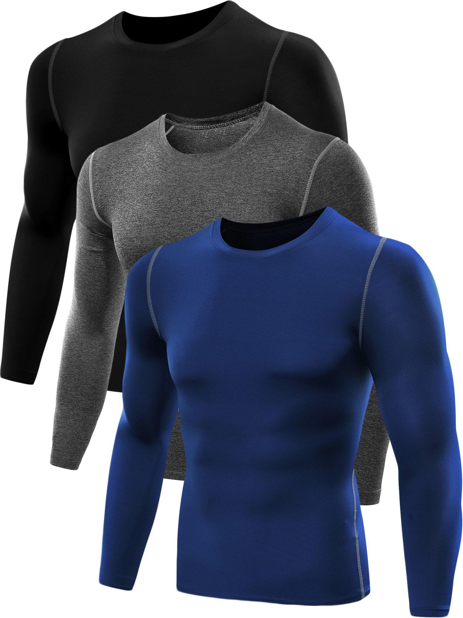 Neleus Men's 3 Pack Athletic Compression Sport Running T Shirt Long Sleeve Base Layer,Black,Grey,Blue,US S,EU M