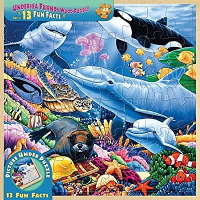 MasterPieces Real Wood Tray Jigsaw Puzzle Undersea Friends, Mom's & Preferred Choice Awards, STEM Product, 48 Pieces, For Ages 4+: Toys & Games